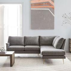 Carlo Mid-Century Set 2: Right Arm Sofa, Left Arm Terminal Chaise, Twill, Stone, Brass