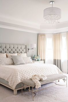 gray, white, and tan bedroom. Great two tone curtains, pretty headboard (but would prefer something more rustic)