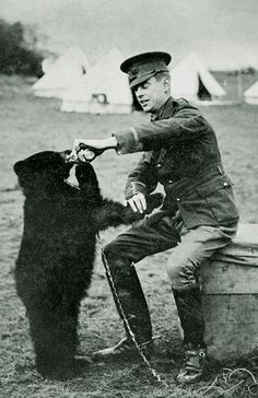 "10 Fun Facts About Winnie The Pooh Lt. Colebourne and Winnie – the bear who became the inspiration for A. Milne's ""Winnie the Pooh"" (his son Christopher Robin named his teddy bear after seeing . Canadian Army, Canadian History, Canadian Soldiers, American History, Winnie The Pooh, World War One, First World, Bear Statue, Curious Facts"