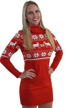 070e9ff3146 (LINK TO BUY) Sexy snow flakes and reindeer ugly christmas sweater dress  mini skirt