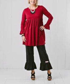 Another great find on #zulily! Maroon Dress & Charcoal Gray Ruffles - Women & Plus #zulilyfinds
