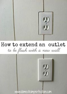 How to Extend an Outlet to Be Flush with a New Wall - Tutorial for when you add depth to your wall and need to bring out an outlet (like with beadboard, tile, planks, etc. Home Improvement Projects, Home Projects, Home Renovation, Home Remodeling, Kitchen Remodeling, Bathroom Renovations, Bathrooms, Outlet Extender, Diy Home Repair