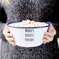Sophia Victoria Joy Personalised Message Enamel Popcorn Bowl (1.155 RUB) ❤ liked on Polyvore featuring home, kitchen & dining, serveware, popcorn bowl, enamel bowl and enamel popcorn bowl
