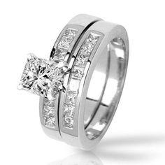 1.43 Carat Princess Cut/Shape 14K White Gold Classic Channel Set Princess Cut Diamond Engagement…