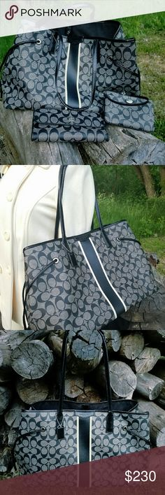 Authentic coach bag,wallet and wristlet set Hold it until Friday!!! Pretty!! Pretty coach PVC carryall bag. In pretty good condition. Got to go all 3 as a set. coach Bags Satchels
