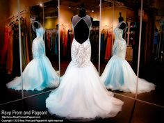 Powder Blue Beaded Mermaid Prom Pageant Dress-High Illusion Neckline-Open Back-115RA028200 at Rsvp Prom and Pageant, your Atlanta Prom Store