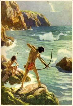 N. C. Wyeth - Trending Into Maine by Kenneth Roberts Published by Little, Brown and Company, 1938, (7 of 19) The first Maine fishermen