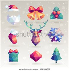 Christmas set - hipster icons. - stock vector