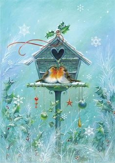 Two birds with heart birdhouse