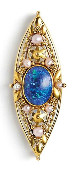Art Nouveau 14kt Gold, Opal, and Pearl Brooch, of navette-form, with applied flower and grape cluster motifs and centering an oval cabochon opal, lg. 2 5/8 in., (opal with crazing).