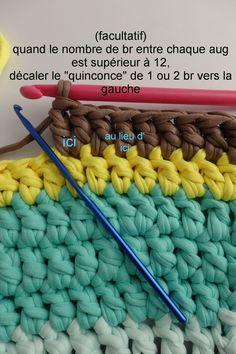 Tutoriel pour un tapis rond crocheté en brides... Creation Couture, Merino Wool Blanket, Crochet Patterns, Stitch, Rugs, Knitting, Diy, Carole, Point