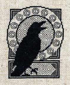 valkyriethais: counted cross stitch CHART Blackwork Ravens...  valkyriethais:  counted cross stitch CHART Blackwork Ravens pattern cxp1301