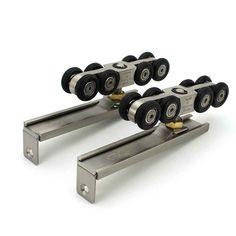 VIBORG Super-quiet&smooth Hanging Sliding Door Hardware Set kit Sliding Door Closet Door Wheel Roller Set, With 2 meter Track