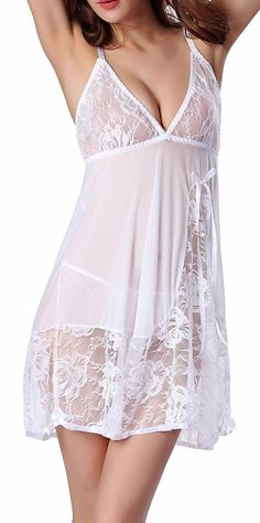Shop Women Lace Lingerie Strap Semi-Sheer Babydoll Polyeater Teddy Patchwork Sleepwear Set - White - Online, Discover More Women's Chemises & Negligees On Sale Up to off. Lingerie Dress, Pretty Lingerie, Lingerie Outfits, Babydoll Lingerie, Beautiful Lingerie, Sexy Outfits, Sexy Lingerie, Sleepwear Sets, Lingerie Sleepwear
