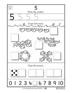 In this coloring math worksheet, your child will practice writing the number 5 and counting up to 5 items. Printable Preschool Worksheets, Free Kindergarten Worksheets, Writing Worksheets, Free Printables, Numbers Preschool, Free Preschool, Preschool Ideas, Number Writing Practice, Writing Numbers