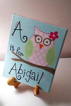 8x10 Owl with name by aubreylb on Etsy, $35.00