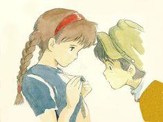 Pazu and Sheeta are such a typical Ghibli heroes. Art Studio Ghibli, Studio Ghibli Films, Totoro, Castle In The Sky, Hayao Miyazaki, Manga Anime, Anime Art, Manga Girl, Anime Girls
