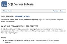 Create, drop, disable, and enable primary keys in SQL Server (Transact-SQL) Transact Sql, Learn Sql, Micro Computer, Sql Server, Enabling, Keys, Finance, Drop, Technology