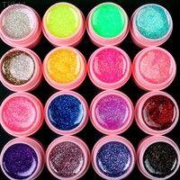 Wish | High Quality 16 PCS Glitter Mix Color UV Gel Acrylic Builder Set for Nail Art Tips DIY