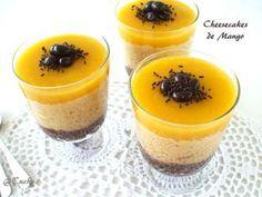 Receta Postre : Cheesecakes de mango y coco sin horno por Cuchy