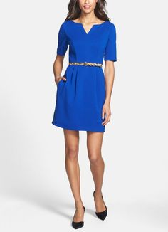 Such a pretty blue fit & flare dress for work.