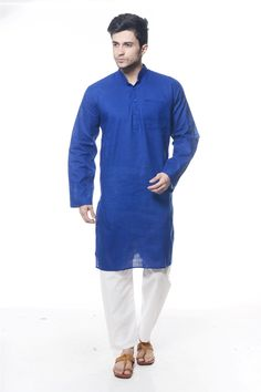 ROYAL BLUE COTTON READYMADE #KURTA #PAJAMA