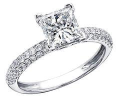 Princess Cut Diamond Ring - Micro Pave' princess cut diamond ring