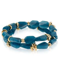 Robert Lee Morris Bracelet Set, Set of 2 Blue Bead Gold-Tone Detailed Stretch Bracelets