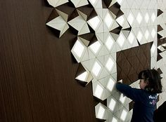 Light Form, Designed by Francesca Rogers in cooperation with Daniele Gualeni Design Studio for ILIDE – Italian Light Design. Interactive, modular lighting system inspired by origami
