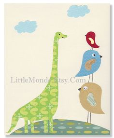 The Funny Beige Dinosaur Personalized 8x10 Nursery by LittleMonde, $15.00