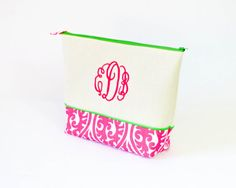 Large Monogrammed Cosmetics Bag Kimono Pink 9 and by AllieClay