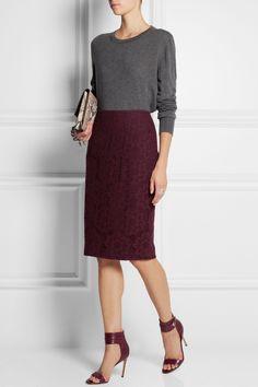 Burberry London|Crocheted lace pencil skirt|NET-A-PORTER.COM