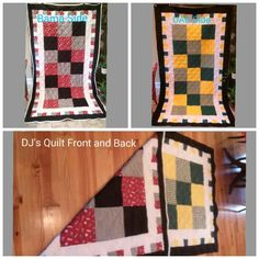 A double sided quilt I made for my son.  Each side represents one of his two favorite colleges - UAB (Univ of Alabama at Birmingham)  and Univ of Alabama. ~~~ Green and gold - Go Blazers! Crimson and houndstooth - Roll Tide!  Both accented with black and white.