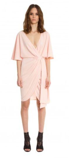 AQAQ Romana Tie Waist Wrap Dress