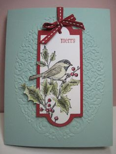handmade Christmas/winter card .. lovely image goes over the edge ... Lynda shows how to do it on her blog ... Stampin' Up!