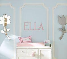 "Pottery Barn Kids ""Ella"" Name Decals Girl Nursery, Nursery Decor, Wall Decor, Nursery Ideas, Room Ideas, Ella Name, Letter Decals, Little Girl Rooms, Nursery Inspiration"