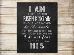 You are purchasing printable art: I Am a Son of the King. **You are purchasing a PRINTABLE jpg file. No physical item will be shipped.** WHY BUY A PRINTABLE? 1. With printable products there are never any shipping fees and no worries that your item is lost in the mail or may arrive damaged. 2. You will have the ability to print on any medium. (Which makes printables perfect for wall art or other crafts.) 3. You have the ability to print multiple copies. To see more of our printable word ...