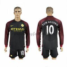 Fodboldtrøjer Premier League Manchester City 2016-17 Kun Aguero 10 Udebanetrøje Langærmede