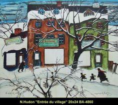 Original mixed media painting by Normand Hudon New BOOK available November 9 2014 #hudon #art #caricaturist #village #winterscene #mixedmedia #canadianartist #quebecartist #originalpainting #balcondart #multiartltee