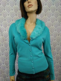 VTG 90s Womens Cardigan Faux Fur Collar Pale Turquoise Clueless Fitted Size M #Everyday #90s #vintage90s #clueless #cardigan