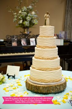 Too tall but I love the heart with the initials and the natural look and colored frosting between the tiers