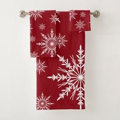 Shop White Winter Snowflakes on Red Bath Towel Set created by loraseverson. Photo Ornaments, Ornaments Design, Bath Towel Sets, Bath Towels, White Snowflake, Snowflakes, Retro Christmas, Christmas Holidays, Christmas Hand Towels