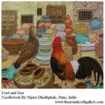 Hen and fowl needlework art  By Sujata Dhadphale  Buy this from The Art and Craft Gallery
