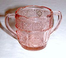 """Depression Glass - Jeannette - Doric & Pansy - Pretty Polly Child's Pink Sugar Bowl 2 1/2"""""""