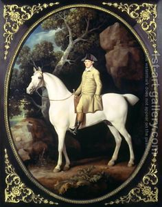 Huntsman with a Grey Hunter and Two Foxhounds: details from the Goodwood Hunting picture, 1760-61 by George Stubbs