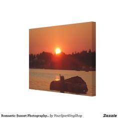 Romantic Sunset Photography Boat Sea Canvas