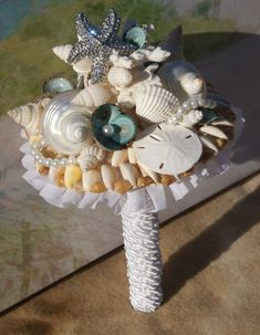 New Fall 2013 Rhinestone Starfish Seashell by SlyCreationsBouquets, $74.00