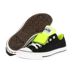 CONVERSE CHUCK TAYLOR ALL STAR DOUBLE TONGUE WOMEN'S SHOES - BLACK/NEON YELLOW