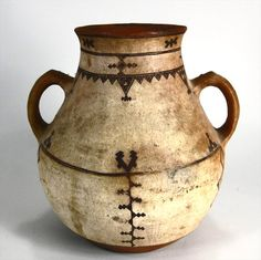 Native American Pottery Two Handled Jar, Probably Southwest Indian, Possibly Zuni, Early-Mid 19th C.