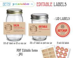 Digital Canning labels  Labels for canning by BetsyPrintables, $3.00